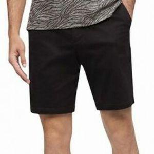 Calvin Klein Mens Black Cotton Shorts Flat Front